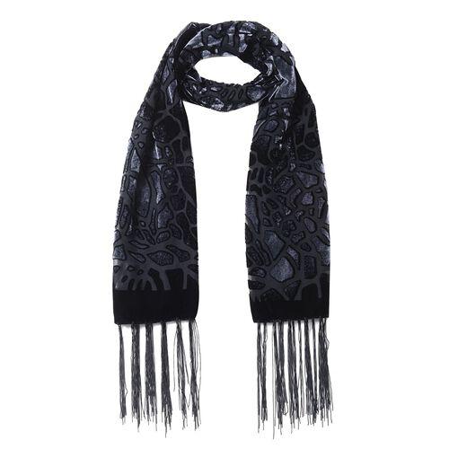 Black and Dark Grey Colour Crack Pattern with Leopard Print Scarf (Size 155x50 Cm)