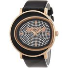 JUST CAVALLI Crystal Studded Quartz Watch with Black Leather Strap