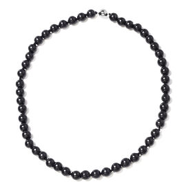 Elite Shungite (Rnd 9-11 mm) Beads Necklace (Size 20) with Magnetic Lock in Rhodium Overlay Sterling