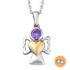 Simulated Tanzanite Pendant With Chain (Size 20) in Yellow Gold and Platinum Overlay Sterling Silver