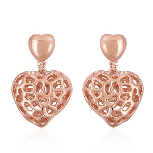 RACHEL GALLEY Rose Gold Overlay Sterling Silver Amore Heart Lattice Earrings (with Push Back), Silver wt 6.80 Gms.