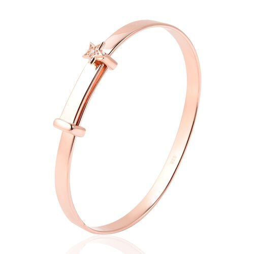 Natural Cambodian Zircon Adjustable Star Bangle in Rose Gold Overlay Sterling Silver (Size 5), Silver wt 11.59 Gms.