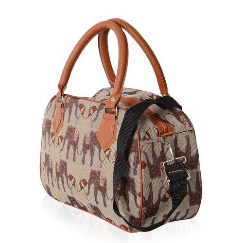 Beige and Multi Colour Elephant and Umbrella Pattern Tote Bag with Removable Shoulder Strap (Size 35x23x13.5 Cm)