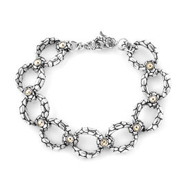 Bali Legacy Collection Sterling Silver and 18K Yellow Gold Pebble Bracelet (Size 7.5), Metal wt 37.0