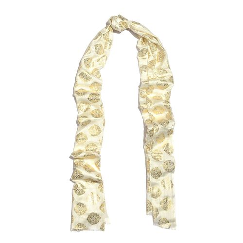 Ivory and Golden Colour Foil Printed Scarf (Size 200X65 Cm)