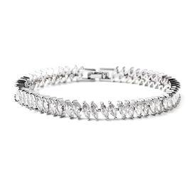 Simulated Diamond Bracelet (Size - 7.25) in Silver Tone