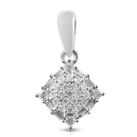 9K White Gold SGL Certified Diamond (Rnd and Bgt) (I3/G-H) Pendant 0.20 Ct.