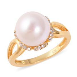 Edison Pearl and Zircon Solitaire Ring in Yellow Gold Plated Sterling Silver
