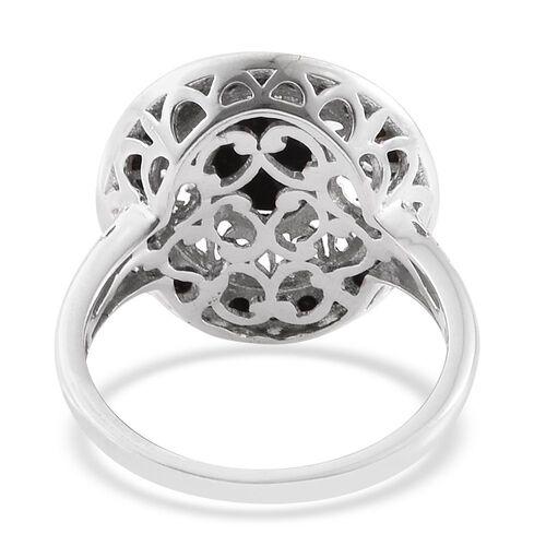 Black Jade (Ovl 1.75 Ct), Boi Ploi Black Spinel Ring in Platinum Overlay Sterling Silver 2.500 Ct.