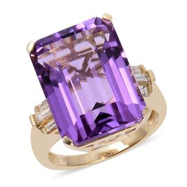 Cocktail Collection- 9K Yellow Gold AAAA Bolivian Amethyst (Oct 18x13 mm), Diamond Ring 16.760 Ct.