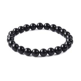 Black Obsidian Stretchable Beads Bracelet (Size 7) 80.00 Ct.