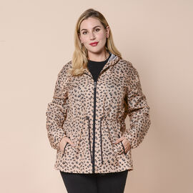 LA MAREY Leopard Pattern Water and Wind Resistant Packable Jacket (Size 62x76 Cm) - Brown size 8 to