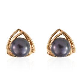 Freshwater Peacock Pearl (Rnd) Stud Earrings in 14K Gold Overlay Sterling Silver