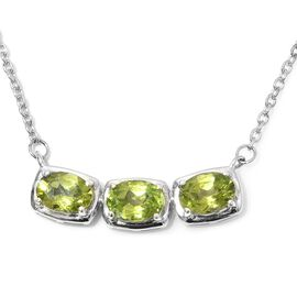 Hebei Peridot Necklace (Size 18) in Platinum Overlay Sterling Silver 2.25 Ct.