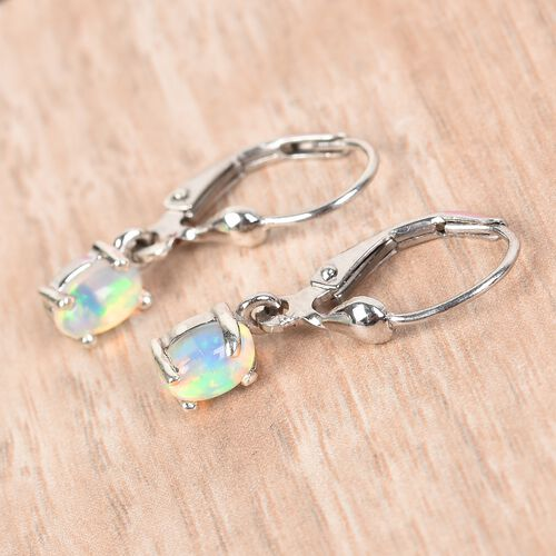Ethiopian Welo Opal Lever Back Earrings in Platinum Overlay Sterling Silver