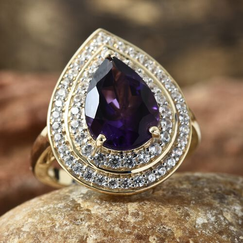 Limited Edition- 5.75 Ct AAA Zambian Amethyst and Natural Cambodian Zircon Ring in 9K Gold