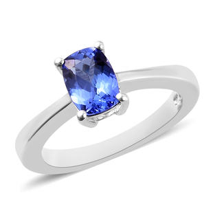 1 Carat Premium Tanzanite Solitaire Ring in Platinum Plated Sterling Silver