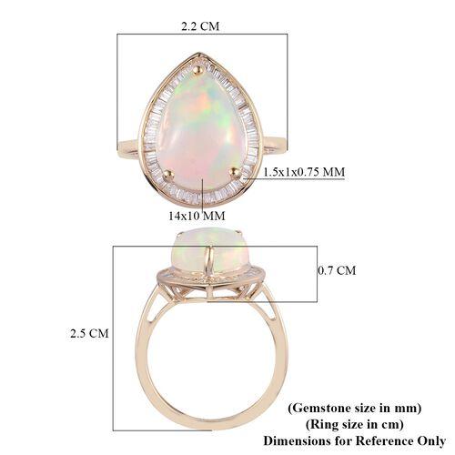9K Yellow Gold AAA Ethiopian Welo Opal and Diamond Ring 3.50 Ct.