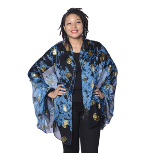 LA MAREY 100% Mulberry Silk Blue Scarf with Golden Embroidery