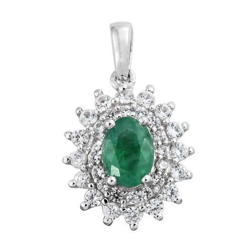 Collectors Edition- Premium Santa Terezinha Emerald (Ovl 7x5 mm), Natural Cambodian Zircon Pendant in Platinum Overlay Sterling Silver 1.250 Ct.