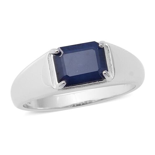 2.52 Ct Kanchanaburi Blue Sapphire Solitaire Ring in Rhodium Plated Sterling Silver