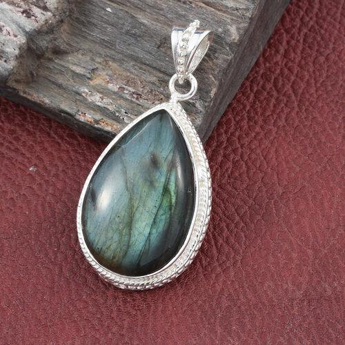 Rare Size- Pauls Island Labradorite (Pear) Pendant in Sterling Silver 33.390 Ct, Silver wt 7.00 Gms.