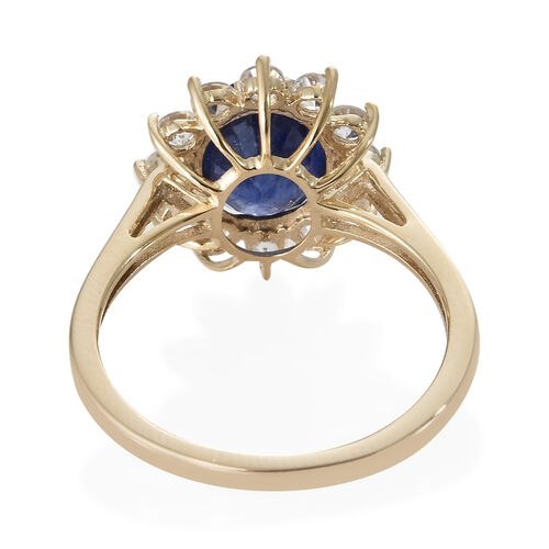 Super Auction- 9K Yellow Gold Masoala Blue Sapphire (Rare Size Ovl 9x7 mm 2.60 Ct), Natural White Cambodian Zircon Ring 3.500 Ct