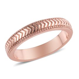 Rose Gold Overlay Sterling Silver Band Ring, Silver wt 3.00 Gms