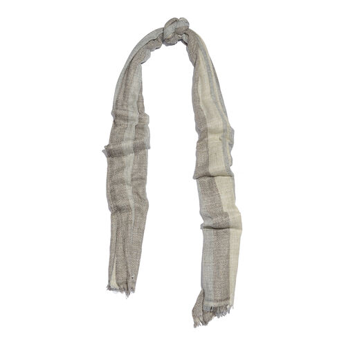 Cashmere & Merino Wool Blend Chocolate, Beige & Grey Colour Scarf with Fringes (Size 200X65 Cm) Weight 110 Gms