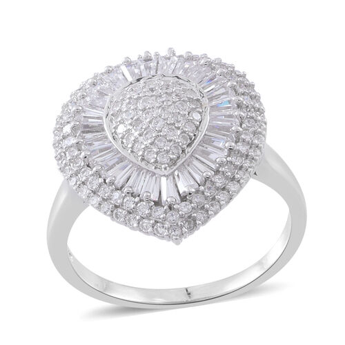 Signature Collection- ELANZA Simulated White Diamond (Rnd) Ring in Rhodium Plated Sterling Silver Wt. 6.26 Gms Number of Simulated Diamond 143