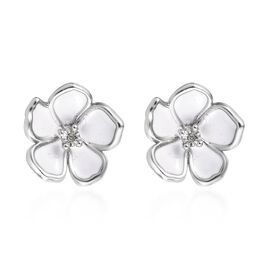 Designer inspired -Diamond (Rnd) Floral Earrings (with Push Back) in Platinum Overlay Sterling Silve