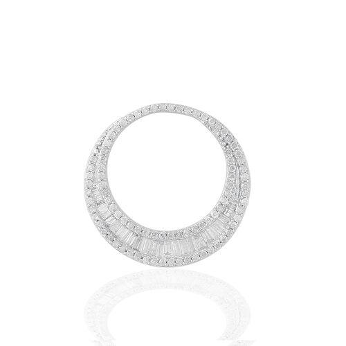 9K White Gold SGL Certified Diamond (Bgt) (I3/G-H) Crescent Moon Shape Pendant 1.000 Ct, Number of Diamonds 118.