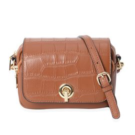 100% Genuine Leather Croc Embossed Crossbody Bag with Long Detachable Strap (Size 19x6x15 Cm) - Brow