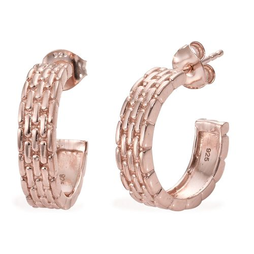 Designer Inspired - Rose Gold Overlay Sterling Silver J Hoop Earrings (with Push Back).Silver Wt 5.27 Gms