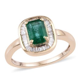 1.15 Ct AA Zambian Emerald and Diamond Halo Ring in 9K Gold 2.5 Grams