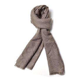 Khaki Colour Scarf with Sequins (Size 200x70 Cm)