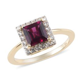 9K Yellow Gold AA Rhodolite Garnet (Sqr), Natural Cambodian Zircon Ring 0.77 Ct.