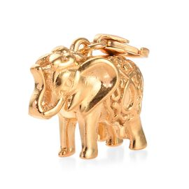 Detailed Engraved Maharaja Elephant Charm in Gold Plated Sterling Silver, Silver wt 6.82 Gms