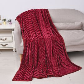 Zig-zag Pattern Luxurious Microfibre Blanket with Piping (Size 200x230 Cm)