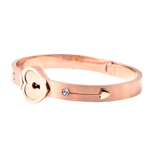 Set of 3 - White Austrain Crystal Heart Lock Bangle (Size 7.5) and Key Design Pendant with Chain (Size 24) in Rose Gold Plated Stainless Steel