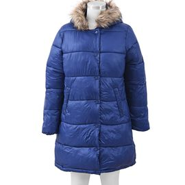 Women Long Puffer Jacket with Faux Fur Trim Hood and Two Pockets in Navy Colour