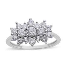 1 Carat Diamond Cluster Boat Ring in 9K White Gold 2.10 Grams SGL Certified I3 GH