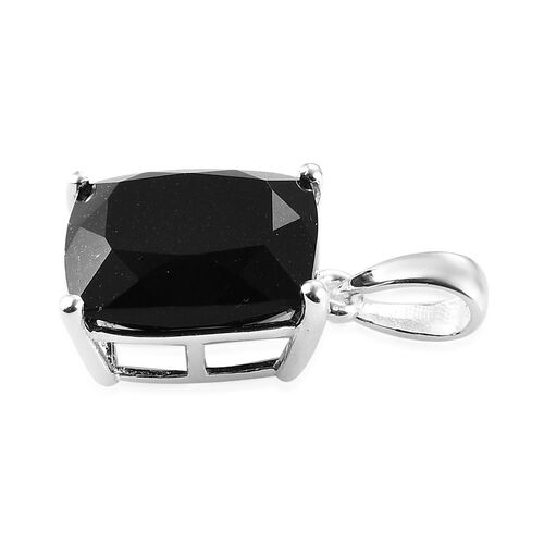 Black Tourmaline Solitaire Pendant in Sterling Silver 5.00 Ct.
