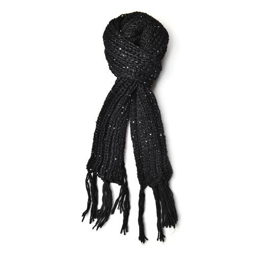 Sequin Embellished Black Colour Knitted Scarf with Tassels (Size 165X18 Cm) and Hat (Size 30X20 Cm)