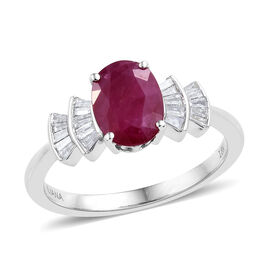 ILIANA 2.18 Ct AAA Burmese Ruby and Diamond Ballerina Ring in 18K White Gold 3.98 Grams