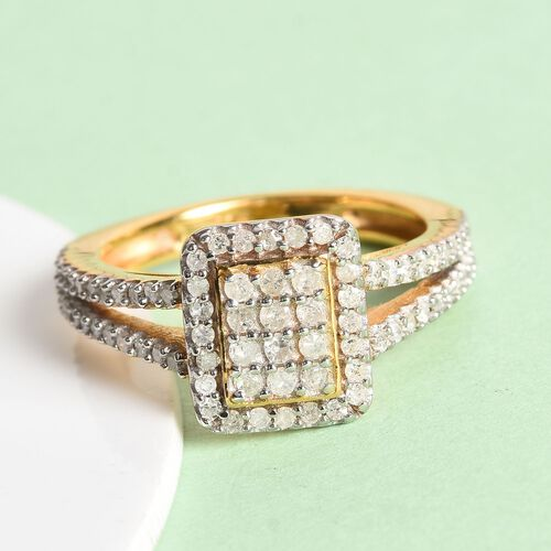 Diamond Cluster Ring in 14K Gold Overlay Sterling Silver 0.50 Ct.