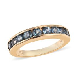 Monster Deal- ILIANA 18K Yellow Gold AAA Montana Sapphire Eternity Ring 1.50 Ct.