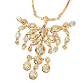 AA Ethiopian Welo Opal Necklace (Size 18 with 2 inch Extension) in 14K Gold Overlay Sterling Silver