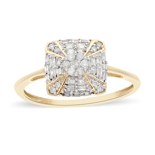 9K Yellow Gold SGL Certified Diamond (I3/G-H) Ring 0.30 Ct.