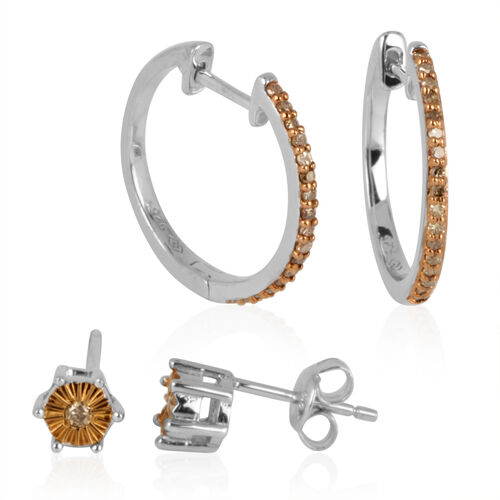 Set of 2 - Natural Champagne Diamond (Rnd) Hoop (with Clasp) and Stud Earrings (with Push Back) in Sterling Silver 0.330 Ct.